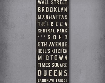 NEW YORK CITY Bus Scroll, Subway Sign, Vintage Tram Roll, Canvas