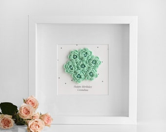 Gift for grandmother, Shadow box flowers, Grandma gift | Crochet wall art, Flower wall art, Pastel wall art, Mother's Day gift