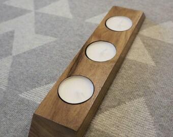 Wood tea light holder