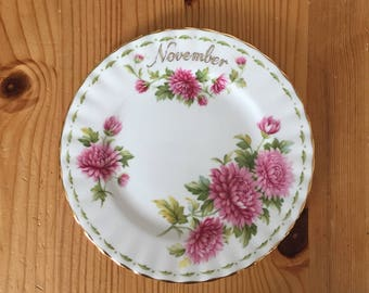 English vintage side plate Royal Albert series Flower of The Month, November