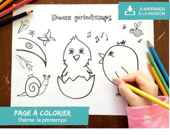 Colouring - soft spring - digital to print at home page