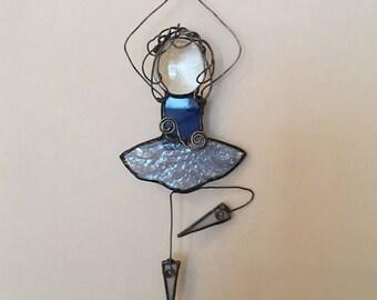 Stained Glass Ballerina, Blue Ballerina Suncatcher, Stained Glass Ballet Dancer, Dancing Girl