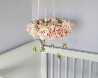 Peach Floral Crib Cot Mobile Floral Chandelier