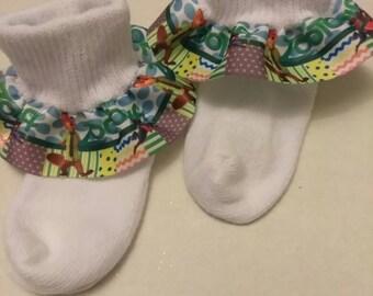 Ribbon ruffle socks, party socks, baby ruffle socks, big girl socks, birthday socks, Disney socks, character socks, Colored socks