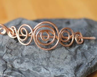 Swirly hair stick, copper hair barrette, copper shawl pin, scarf clip, brooch pin, hair jewelry, gift for her, hair accessories