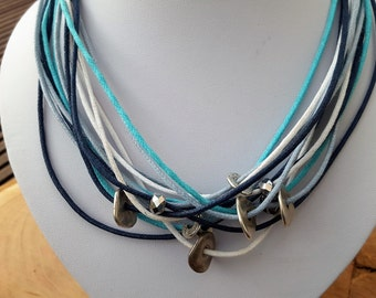 Necklace cotton blue white