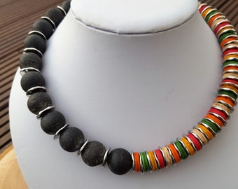 Chain necklace lava with colorful discs