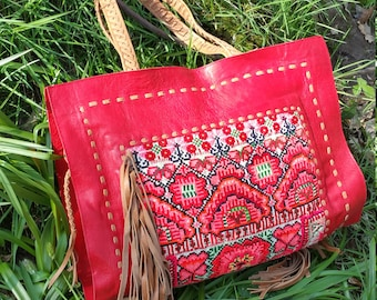 Kochi Shopper, Handmade Leather Handbag featuring Vintage Textiles  Stitch detailing  and finished with tassels