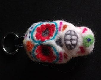 neddle felted sugar skull key ring.halloween Keychains.TWOPI1DB