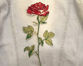 Big Red Rose Flower Embroidered Patch Iron On Sew On DIY Sewing Costume Clothing Accessories Embroidered Applique Patch Personalized Gift