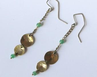 Drop earrings, chain, jade, golden color earrings golden green, gift, woman gift