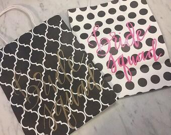 CUSTOM Bride Squad Bags | Bachelorette Party | Bridesmaid | MOH | Wedding | Bridal Shower | Black + White Favors
