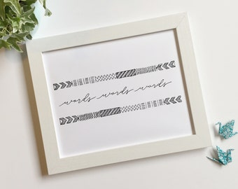 Words words words; handlettered digital art print
