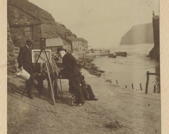 Charles mark palmer talking to Staithes artist