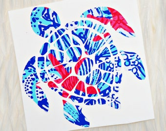 Lilly Pulitzer Inspired Sea Turtle Vinyl Decal - Optional Monogram Available