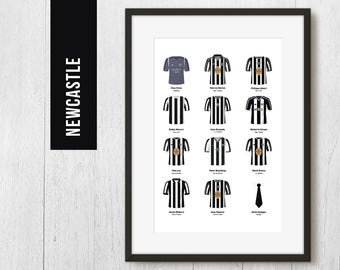 PERSONALISED Newcastle Team Print, Football Poster, Football Gift, FREE UK Delivery