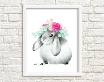 Rabbit Aries illustration / poster 8 x 10 / animal watercolor drawing / kids wall decor / picture frame / Katrinn Illustration
