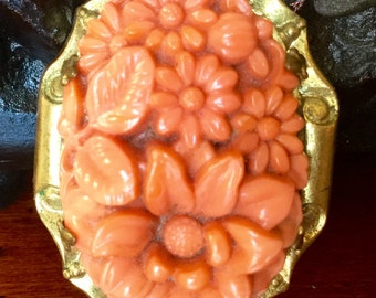 Vintage Celluloid Pin Coral Colored Flower Brooch Peach Pin Antique Clasp