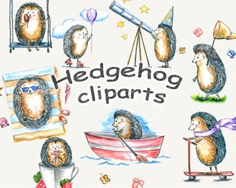 Hedgehog clipart, kids clipart, Hedgehogs, children's clipart, watercolor, digital watrcolor, hand painted