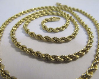 """14K Solid Yellow Gold Rope Chain Necklace by BBB 20"""" Long  #916"""