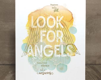 Angel inspirational quote art print, Look for Angels
