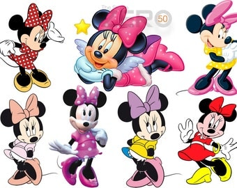 50 Minnie Mouse, Digital Clipart of 72-300DPI PNG Images, Instant Download, Printable Iron On Transfer or Use as Clip Art, Minnie Clipart