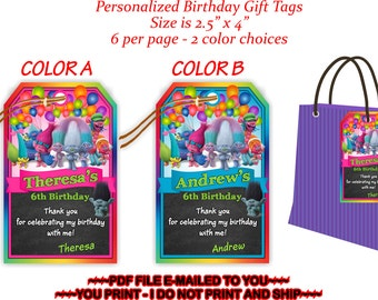 Trolls Gift Tag, Trolls Birthday, Trolls Favor Tag, Trolls Thank You, Trolls Party, Trolls Party Label, Trolls Bag Tag, Trolls - TROLLS