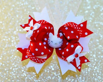 Red and White Hello Kitty Bow