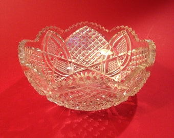 """EAPG Pressed Glass 9"""" Round Berry Bowl, Duncan & Miller Glass Company, Cane and Arch Design, Scalloped Six Point Pattern"""