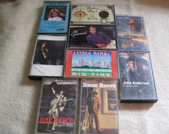 ship free 9 Country Music Cassette Tape Lot of 9 Country Music Cassettes Free Shipping in usa