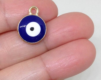 6 Pieces Gold plated Evil eye Charm-navy Blue Evil Eye Charm- Turkish evil eye, Evil Eye Jewelry,Protection,Lucky Charm,Hippie findings