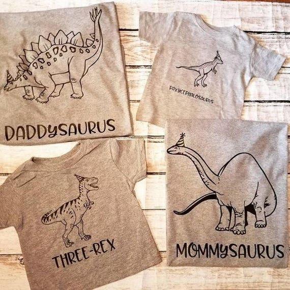 Dinosaur three rex family t shirt set 4 shirt set for T rex family