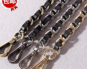 11mm genuine leather Handle Shoulder Strap Metal Iron Chain Twist Links Purse chains Straps
