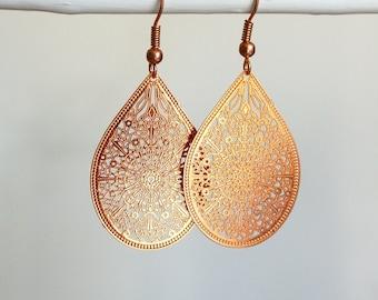 Rose gold Earrings Filigree Earrings  Boho Earrings Drop Earrings Dangle Earrings