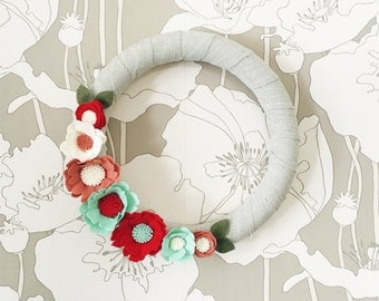 Mint and Red Felt Flower Wreath, Spring Front Door Wreath, Felt Flower Wreath, Nursery Decor, Bridal Shower Decor, Mother's Day Gift, Thank