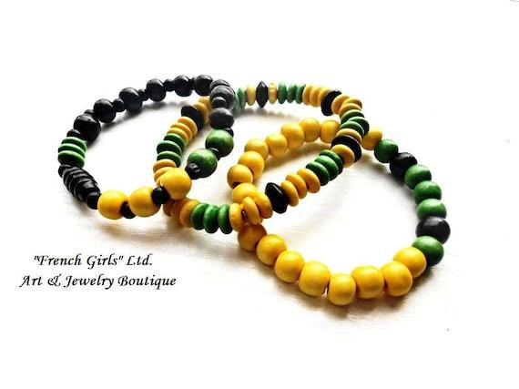 Wooden Bracelet Set 3 Pieces Black Yellow Green Jewelry Set Beaded Fashion Bracelets Wood  Mala Yoga Zen Boho Vintage Bohemian Eco Friendly