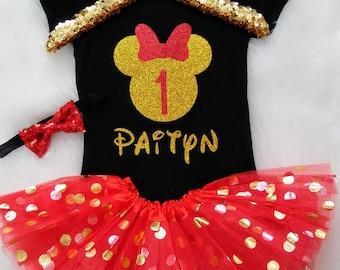 Minnie Mouse Birthday Outfit ANY Birthday Shirt Red Gold Minnie ANY NUMBER Birthday Girl Disney World  Birthday Tutu Personalized Birthday