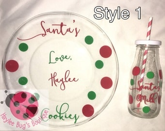 Santa's Milk and Cookies Plate and Bottle Set - Christmas - Kids - Holidays