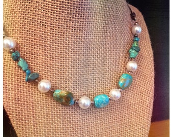 Torquoise and Pearl Reversible Necklace