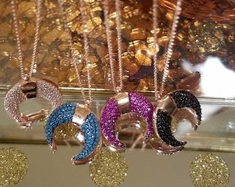 Solid 925 Sterling Silver Zirconia Moon Necklaces