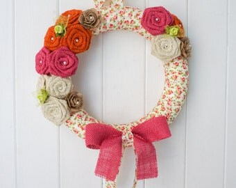 Flower Wreath, Burlap Wreath, Spring Wreath, Easter Wreath, Summer Wreath, Door Wreath, Year Round Wreath, Handmade Wreath, Home Decor, 12""
