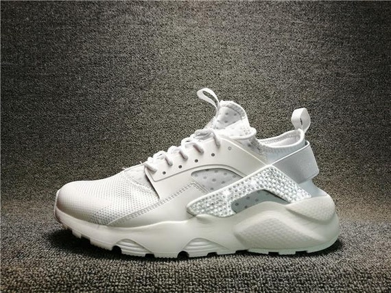 Swoosh Swarovski Crystals Nike Air Huarache white by DiyBlingLand  high-quality e1c0ca25a69f