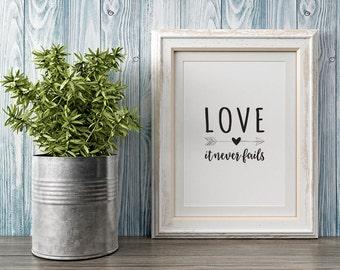 Love, it Never Fails Framed Digital Print, Heart, Arrow, Unfailing Love, Monochrome, Typographic Wall Art, Inspirational, Motivational Quote