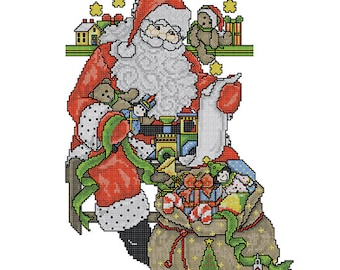 Cross-stitch Machine Embroidery Design - Christmas sock