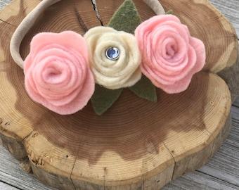 3 flowers felt headband