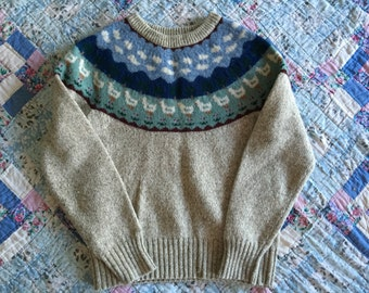 Vtg duck trees clouds pattern winter sweater