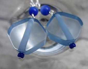 Drop Earrings, Blue Earrings, Blue Glass Earrings