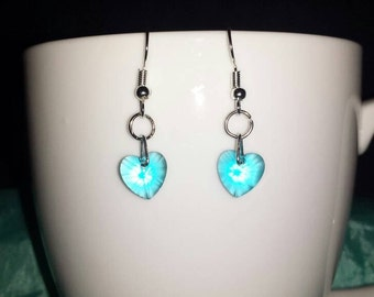 Heart earring made of crystal glass 'Aquamarine'