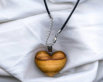Wooden heart necklace, wooden necklace, wooden jewellery, gift for her, valentines, wooden heart pendant, made from Apple tree wood.