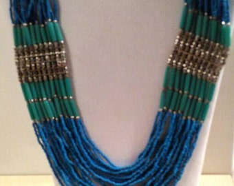 Vintage Blue Green Multi-Strand Beaded Necklace, Boho Necklace, Vintage Jewelry, Accessories, Fashion Jewelry, Boutique